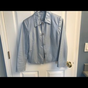Lord and Taylor Blue Leather jacket size S
